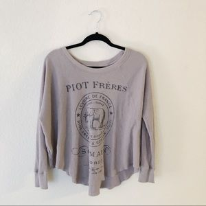WE THE FREE PEOPLE waffle knit long sleeve top